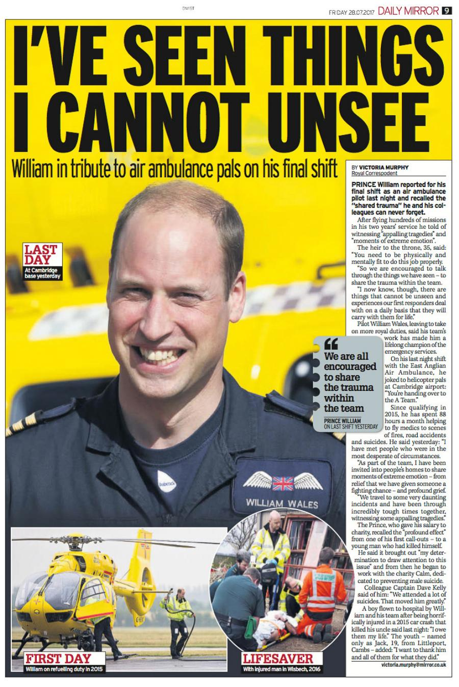 Prince William's Last Day At Air Ambulance