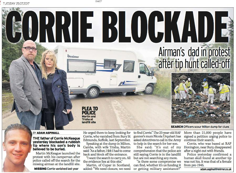 Missing Airman's Dad Blocks Rubbish Tip Entrance